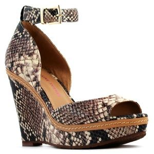 Wedge snakeskin heels
